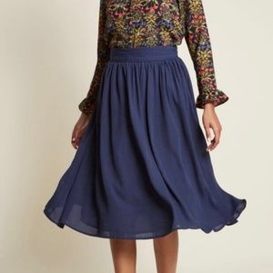 Modcloth Momentous Moxie Midi Skirt Chiffon Navy M